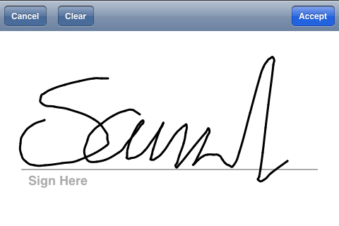 Signature being captured by the app