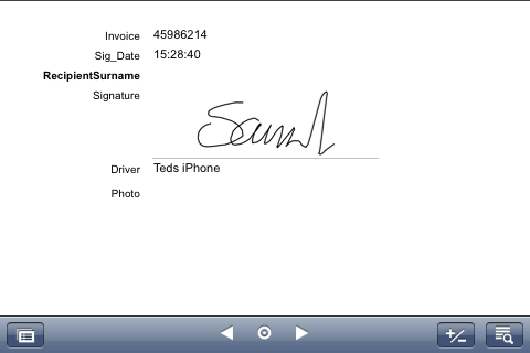 Signature accepted by the app